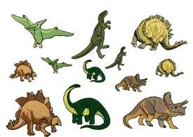 """""""ワッペン屋さんラボ オリジナルワッペン"""" 恐竜セット 大6個小6個 合計12個セット ワッペン (アイロン接着タイプ)"""