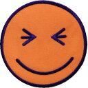 """【New】""""ワッペン屋さんラボ オリジナルワッペン"""" キュンスマイリー オレンジ Lワッペン(アイロン接着タイプ)"""