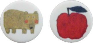nakaniwa  熊とリンゴ 丸ボタン 20mm
