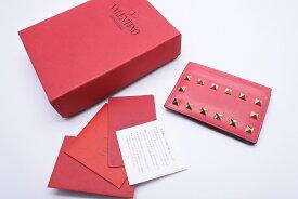 ◆[USED/中古]◆送料無料◆VALENTINO ヴァレンティノ カードケース パスケース ロックスタッズ ピンク×レッド×グリーン×グレー◆ 【RCP】【中古】◆