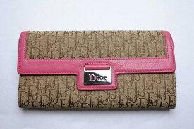 ◆[USED/中古]◆送料無料◆【中古】Christian Dior クリスチャンディオール 長財布 ウォレット トロッター キャンバス レザー ブラウン ピンク 中古 23894 【RCP】【中古】