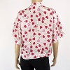 Diesel (DIESEL) Lady's short sleeves shirt pink system stand collar heart pattern (size /XS/S) *cl0014