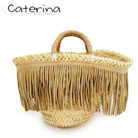カテリナ ベルティーニ(Caterina Bertini)01/S スモール フリンジ グログランリボン かごバッグ カゴバッグ ミニトート ナチュラル×ベージュ (サイズ/S)*xy0036