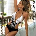 ホルターネック ワンピース 水着 胸パッド 付き ワイヤー なし 花柄 ハイレグ ビーチウエア スイムウエア レディース …