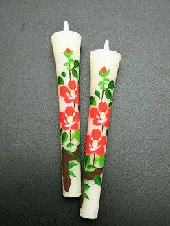Two Camellia 3 candle pieces (hand-drawn) picture candles Japanese candle accessories