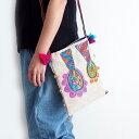 【メール便】手織りコットンヘンプ手刺繍ショルダーバッグ ポシェット 斜めがけ タイ北部の手織り生地 手刺繍 一点もの