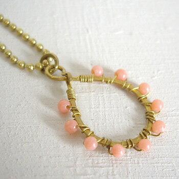 【メール便】天然石と真鍮のネックレス ピンクコーラル ターコイズ パール 真珠 真鍮