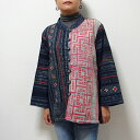 モン族 ジャケット モン族古布の洋服 藍染めとアップリケのジャケット ろうけつ染め バティック 一点もの