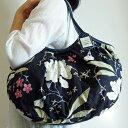 【メール便可】sisi グラニーバッグ 120%ビッグサイズ 新大花 ブラック sisバッグ ブロックプリント 布バッグ ショルダーバッグ