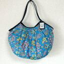【メール便】sisi グラニーバッグ 120%ビッグサイズ 珊瑚 ブルー sisバッグ ブロックプリント A4サイズが入る布バッグ