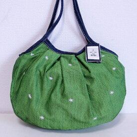 【メール便可】sisi グラニーバッグ 定番サイズ 刺繍 グリーン sisiバッグ 布バッグ