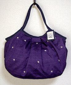 【メール便可】sisi グラニーバッグ 定番サイズ 刺繍 パープル sisiバッグ 布バッグ ショルダーバッグ