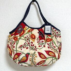 【メール便可】sisi グラニーバッグ 定番サイズ 大花 レッド sisiバッグ ブロックプリント 布バッグ ショルダーバッグ