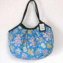 【メール便】sisiグラニーバッグ定番サイズ珊瑚ブルー軽くて使いやすくてたためる布バッグショルダーバッグブロックプリント