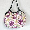 【メール便】sisiグラニーバッグ定番サイズ珊瑚ホワイト軽くて使いやすくてたためる布バッグショルダーバッグブロックプリント