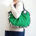 sisi グラニーバッグ 定番サイズ ジュート×フェイクファー グリーン ゼブラ sisiバッグ 布バッグ ショルダーバッグ