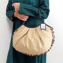 【メール便可】sisi グラニーバッグ 定番サイズ ジュート×フェイクファー ナチュラル レオパード sisiバッグ 布バッグ ショルダーバッグ
