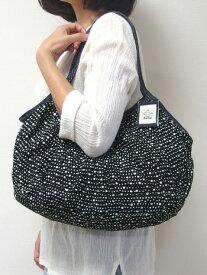 【メール便可】sisiグラニーバッグ 120%幅広サイズ 水玉 ドット ブラック sisバッグ 布バッグ ろうけつ染め