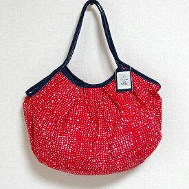 【メール便可】sisiグラニーバッグ 120%幅広サイズ 水玉 レッド sisバッグ たためる布バッグ ろうけつ染め