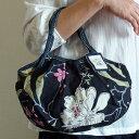 【メール便可】sisi ミニグラニーバッグ 新大花 ブラック sisバッグ バッグインバッグ ブロックプリント ちょっとそこまで布バッグ