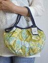 【メール便可】sisi ミニグラニーバッグ ブロックプリント 蝶 グリーン sisバッグ バッグインバッグ ちょっとそこまで布バッグ