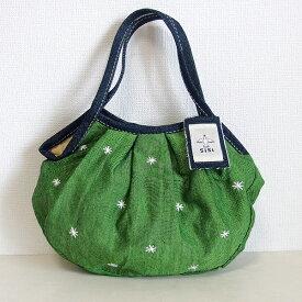 【メール便可】sisi ミニグラニーバッグ 刺繍 グリーン sisバッグ バッグインバッグ ちょっとそこまでに便利な布バッグ