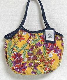 【メール便可】sisi ミニグラニーバッグ ブロックプリント 藤 イエローsisバッグ バッグインバッグ ちょっとそこまで布バッグ
