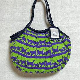【メール便】sisi ミニグラニーバッグ 猫柄バティック グリーン sisiバッグ ちょっとそこまで布バッグ ろうけつ染め バッグインバッグ