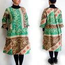 【送料無料】カンタ刺繍ワンピース 01 インドのカンタ刺繍(ラリーキルト)の素敵な古布のワンピース 刺し子 1点もの
