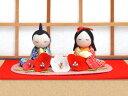 雛人形 ひな人形「ちりめん細工友禅座り雛花飾り」rh264 お雛様 コンパクト 収納/リュウコドウ|| ミニ かわいい 小さ…