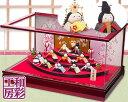 雛人形 木製枠本格アクリルケース飾り「扇面三段わらべ雛10人揃い」ksc057a/リュウコドウ ひな人形 コンパクト||お雛…
