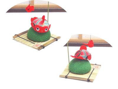 ちりめん細工「和柄丸金魚/赤」リュウコドウ和雑貨置物