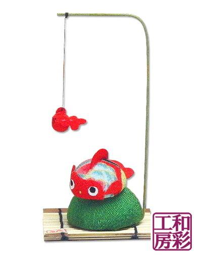 ちりめん細工「和柄丸金魚/赤」