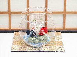 ガラス金魚鉢「ちりめん金魚二匹 涼飾り」 リュウコドウ 和雑貨 置物??(龍虎堂 和風 小物 和小物 置き物 おきもの インテリア 雑貨 夏 玄関 床の間 飾り おしゃれ かわいい 可愛い カワイイ