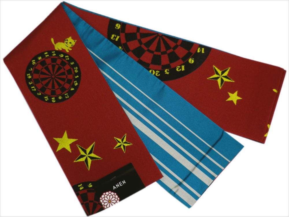 小粋半巾帯半幅帯細帯濃赤色地猫(ねこ)とダーツ 洗える着物&小紋・紬に