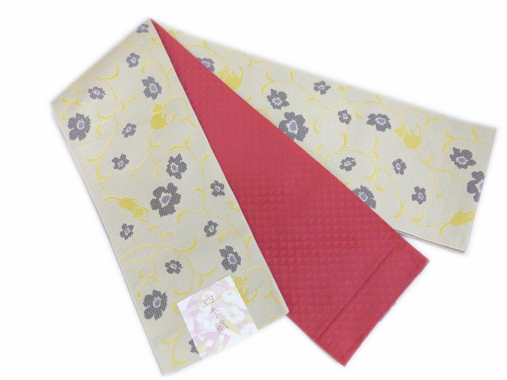 小粋半巾帯半幅帯細帯ベージュ地可憐花と猫ねこ 洗える着物&小紋・紬に