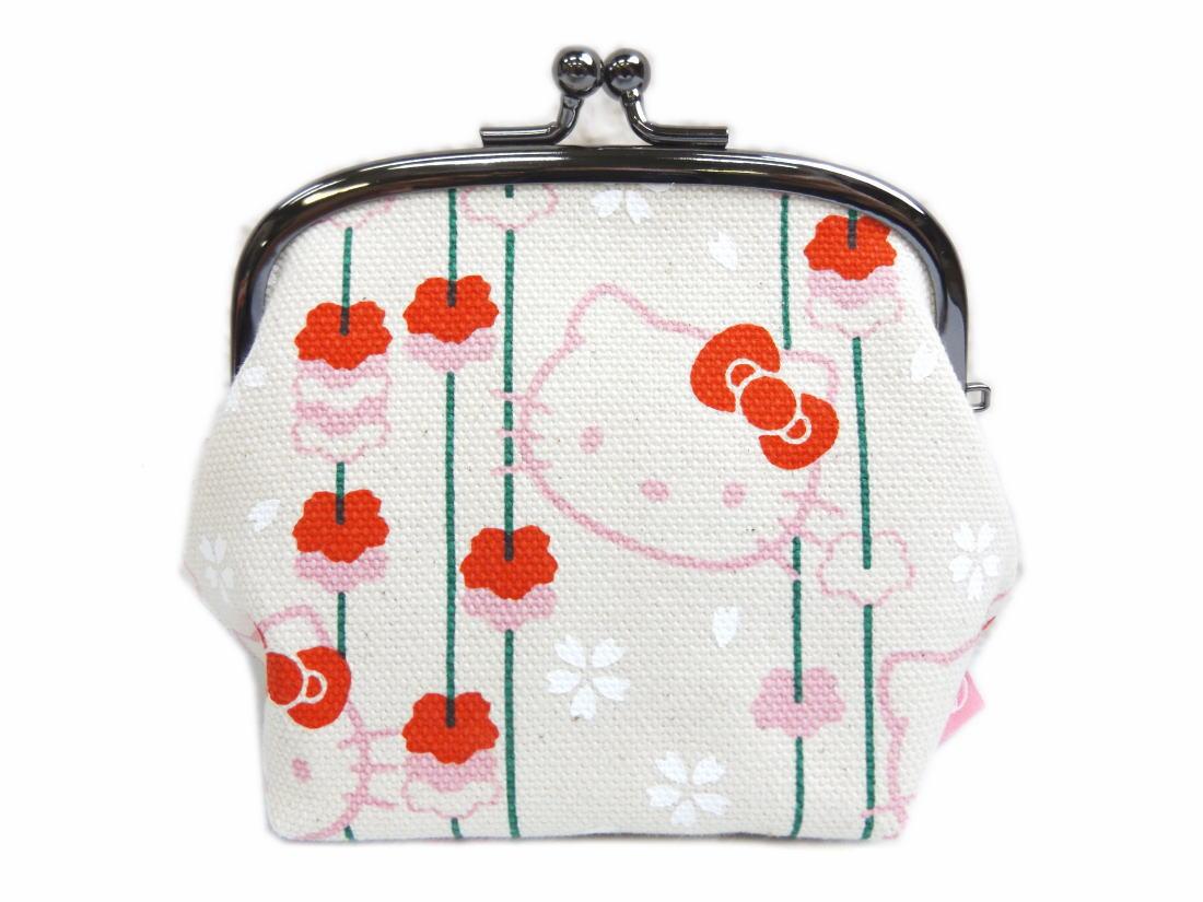 和柄がま口財布サイフ・小銭入れきなり地枝垂桜 和×ハローキティちゃんコラボ 日本製