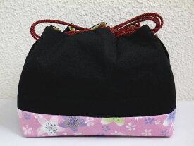 横長型ちりめん巾着黒地桜桜 着物&卒業式袴に