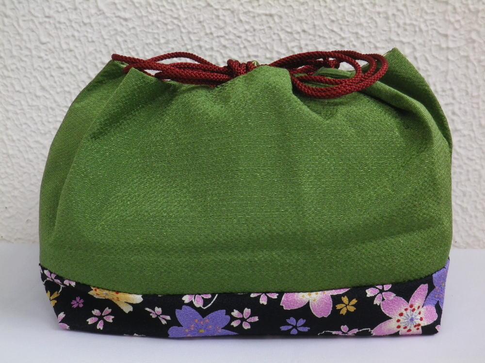 横長型ちりめん巾着緑地桜桜 着物&卒業式袴に