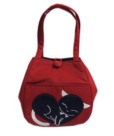 バッグ 手提げ ランチ 赤色地 銀糸 刺繍 黒猫 ねこ ネコ ハート お弁当 入れ 女性用 レディース