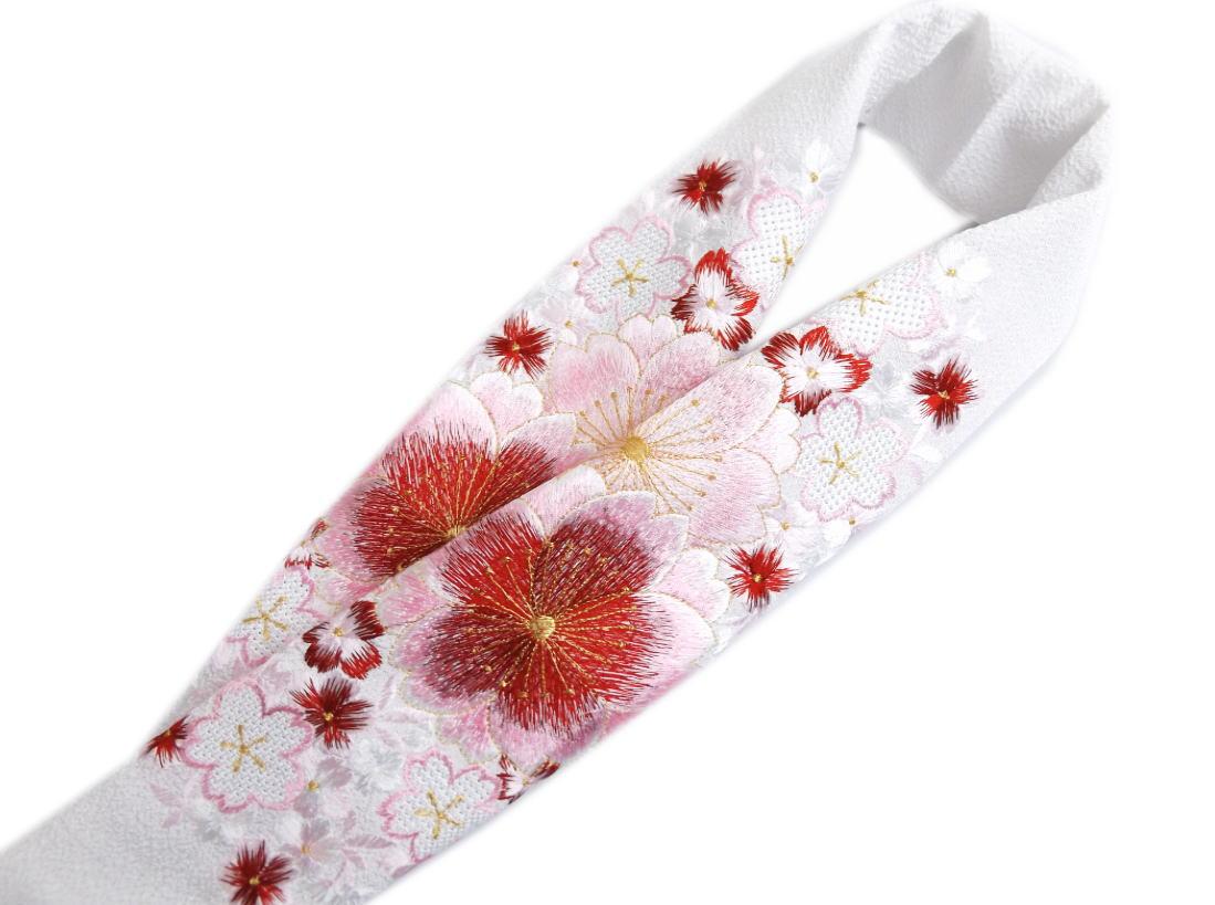 刺繍半衿半襟白色地赤ピンク大輪八重桜汕頭桜 振袖成人式&卒業式袴・着物に