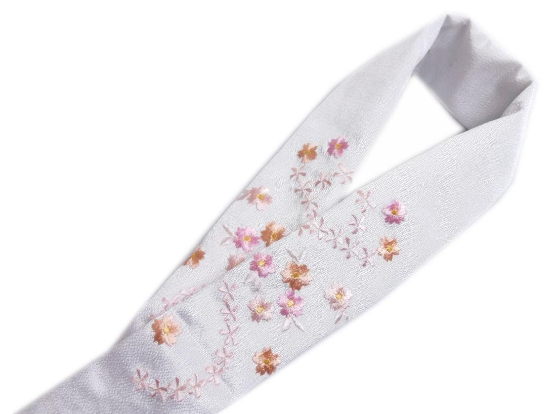 刺繍半衿半襟白色地ピンク薄橙桜流小花 振袖成人式&卒業式袴・着物に 丹後ちりめん
