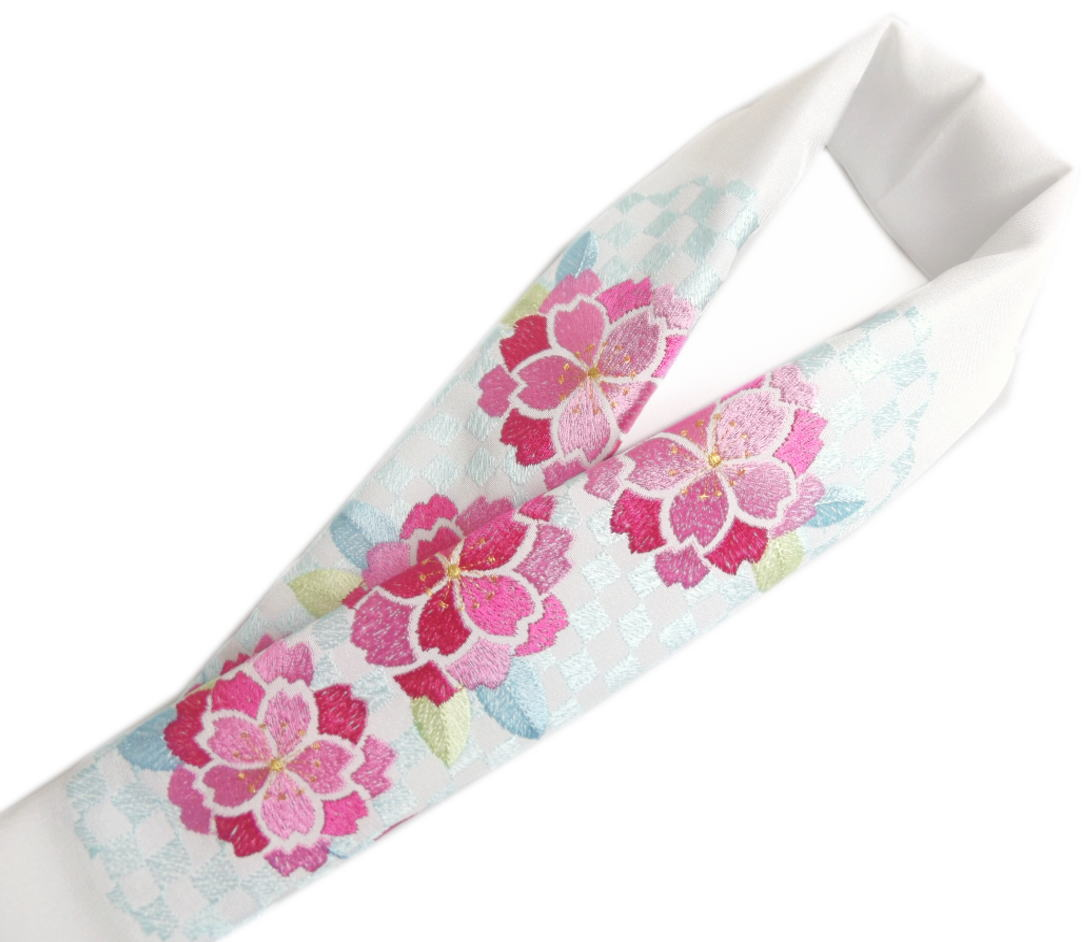 半衿 半襟 刺繍 絹交織 白色地 濃ピンク八重桜水色市松 振袖 成人式 卒業式 袴 着物 日本製 丹後ちりめん 女性用 レディース