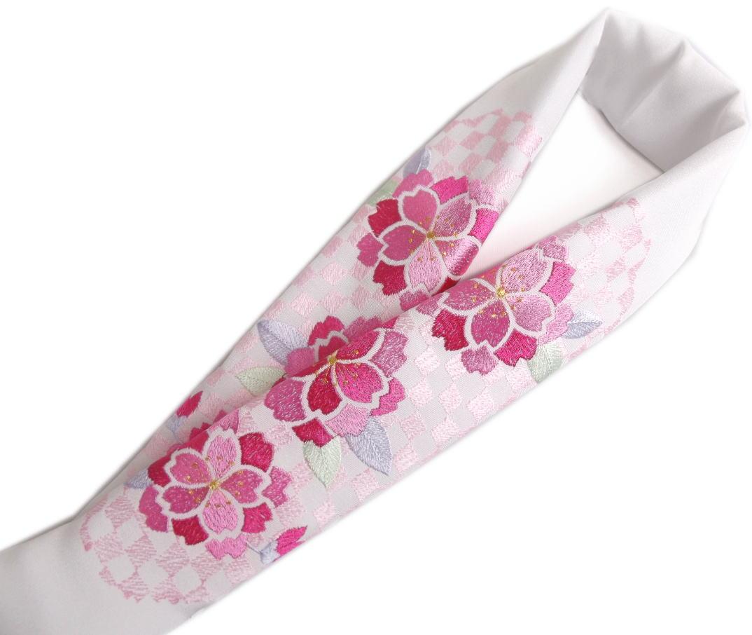 半衿 半襟 刺繍 絹交織 白色地 濃ピンク八重桜薄ピンク市松 振袖 成人式 卒業式 袴 着物 日本製 丹後ちりめん 女性用 レディース