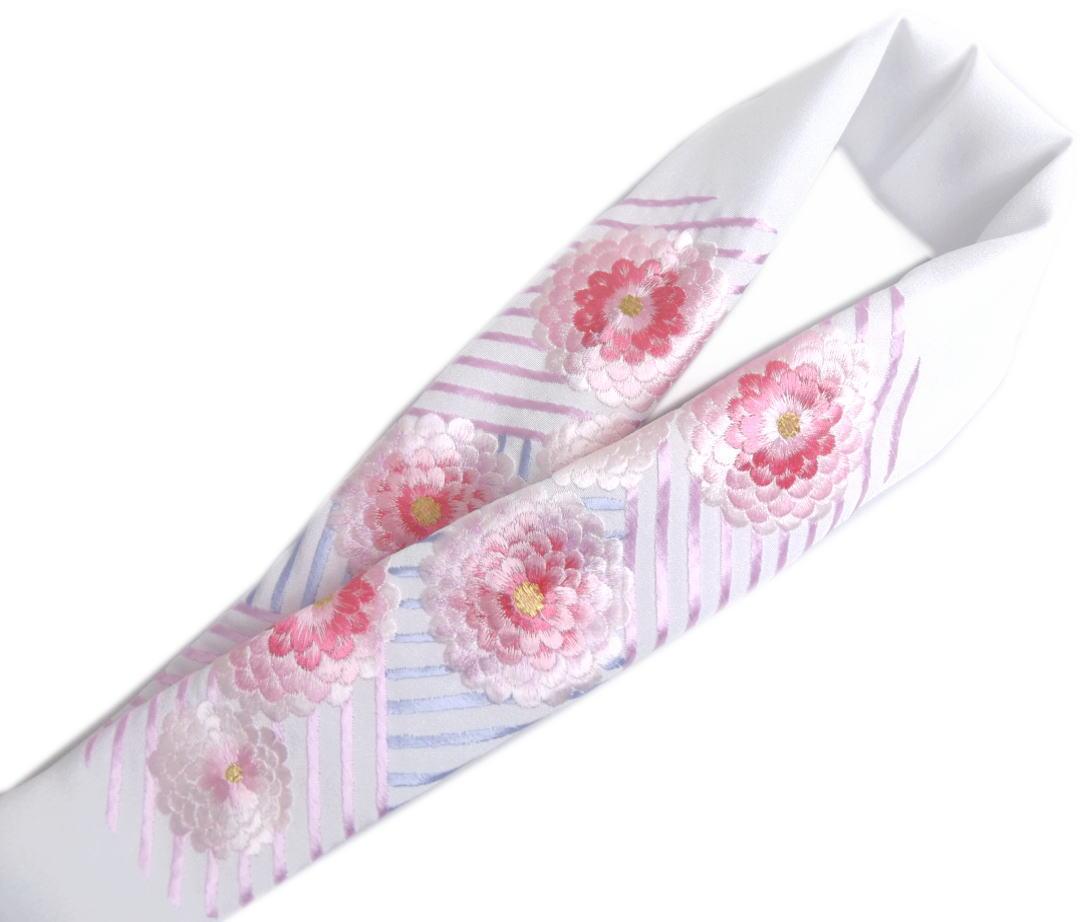 半衿 半襟 刺繍 絹交織 白色地 濃薄ピンク白万寿菊ライン 振袖 成人式 卒業式 袴 着物 日本製 丹後ちりめん 女性用 レディース