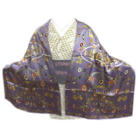 ショール 正絹 シルク 大判 岡重ブランド ストール ひざ掛け 薄紫色地更紗紋様 化粧箱入り 和装 着物 洋服 女性用 レディース 和柄