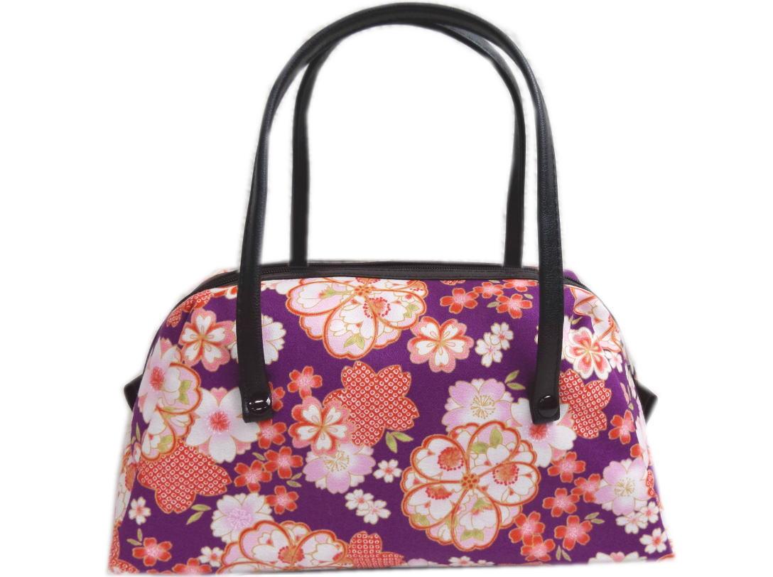 和柄ミニボストンバッグ紫色地八重桜桜小桜 着物・卒業式袴・デニムに 日本製