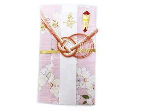 ご祝儀袋 和柄 小風呂敷 ふろしき 短冊3枚 中袋入 薄ピンク色地八重桜 女性用 レディース