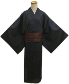 粋なメンズ男物男性綿麻浴衣と兵児帯セット墨黒色地ライン菱大きいサイズ4L・5L