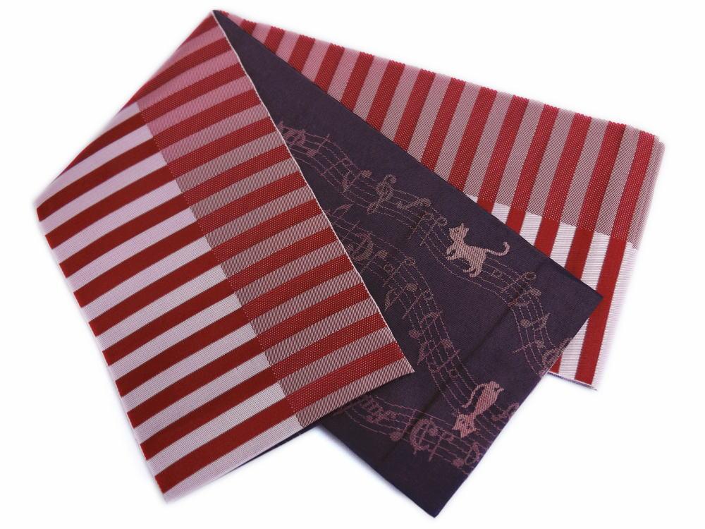長尺ロングリバーシブル小袋半巾帯半幅帯赤色地ライン&墨グレー地音符猫ねこ 浴衣ゆかた&卒業式袴に